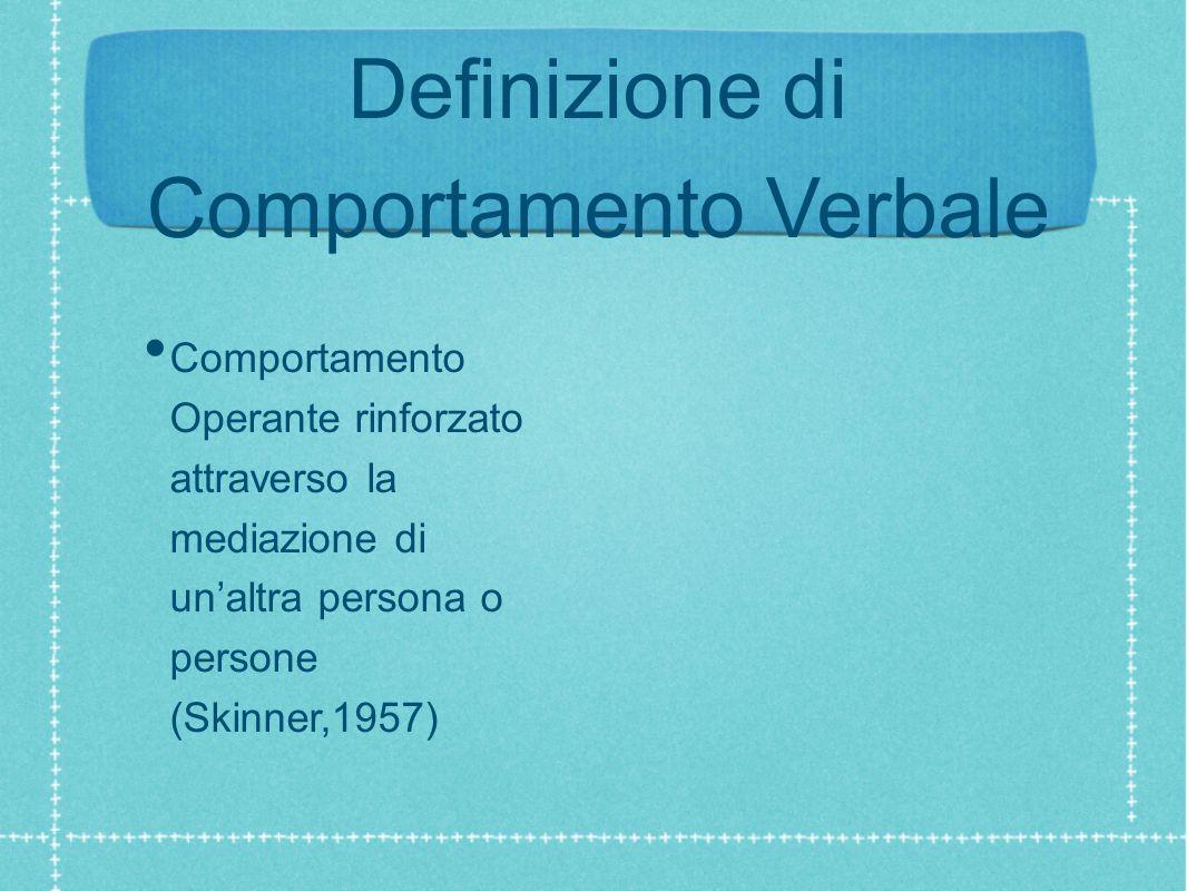 Definizione di Comportamento Verbale