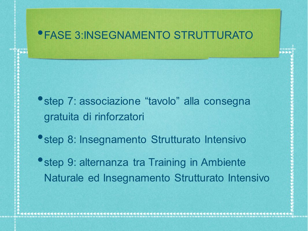 FASE 3:INSEGNAMENTO STRUTTURATO