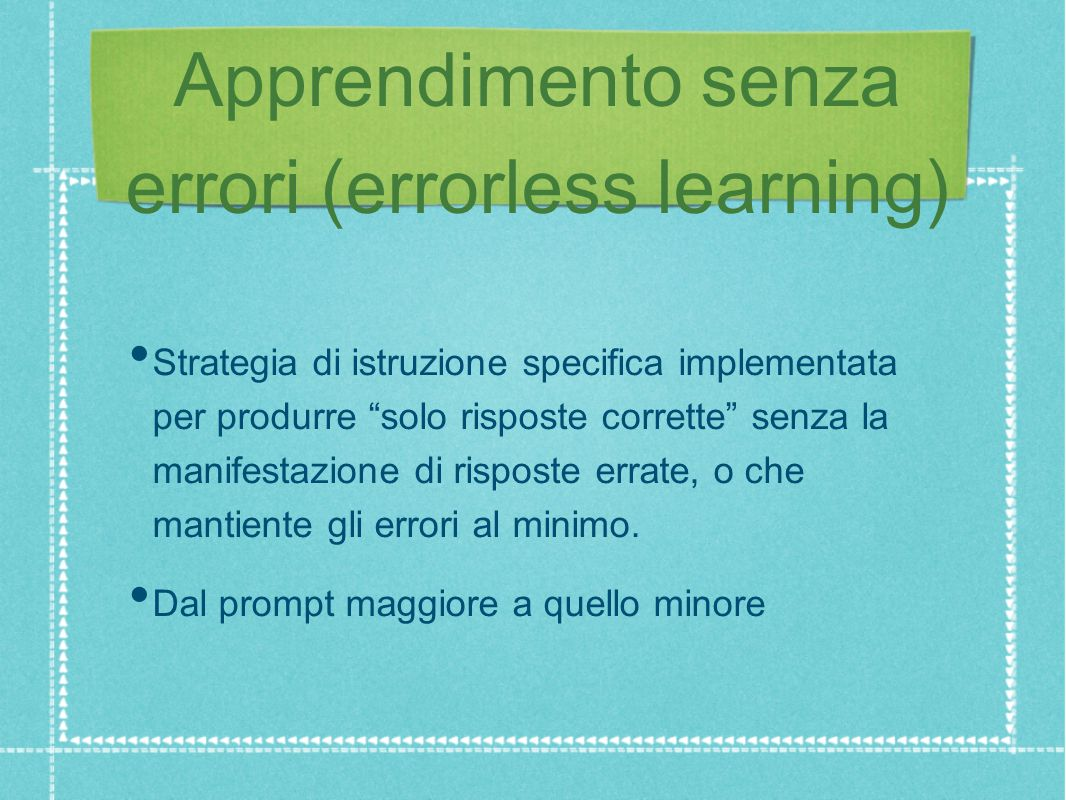 Apprendimento senza errori (errorless learning)