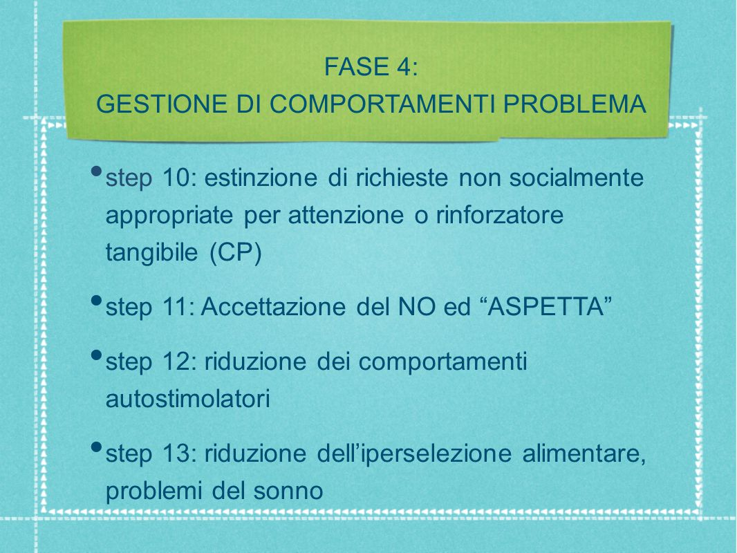 FASE 4: GESTIONE DI COMPORTAMENTI PROBLEMA