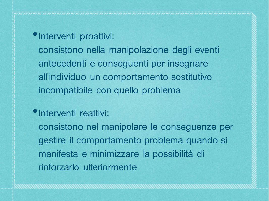 Interventi proattivi: consistono nella manipolazione degli eventi antecedenti e conseguenti per insegnare all'individuo un comportamento sostitutivo incompatibile con quello problema