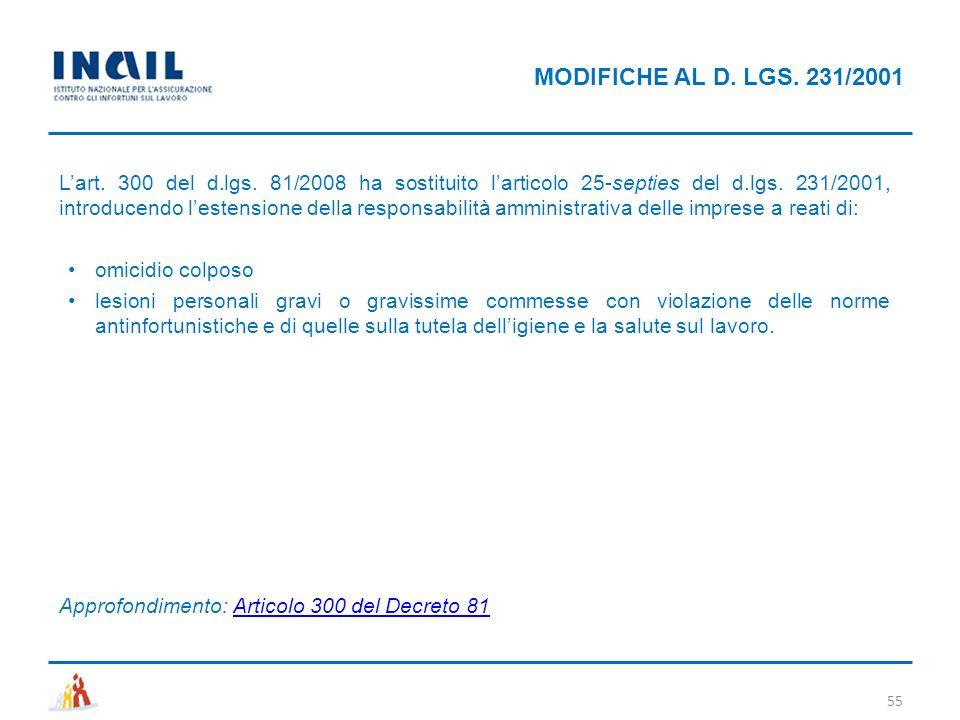 MODIFICHE AL D. LGS. 231/2001