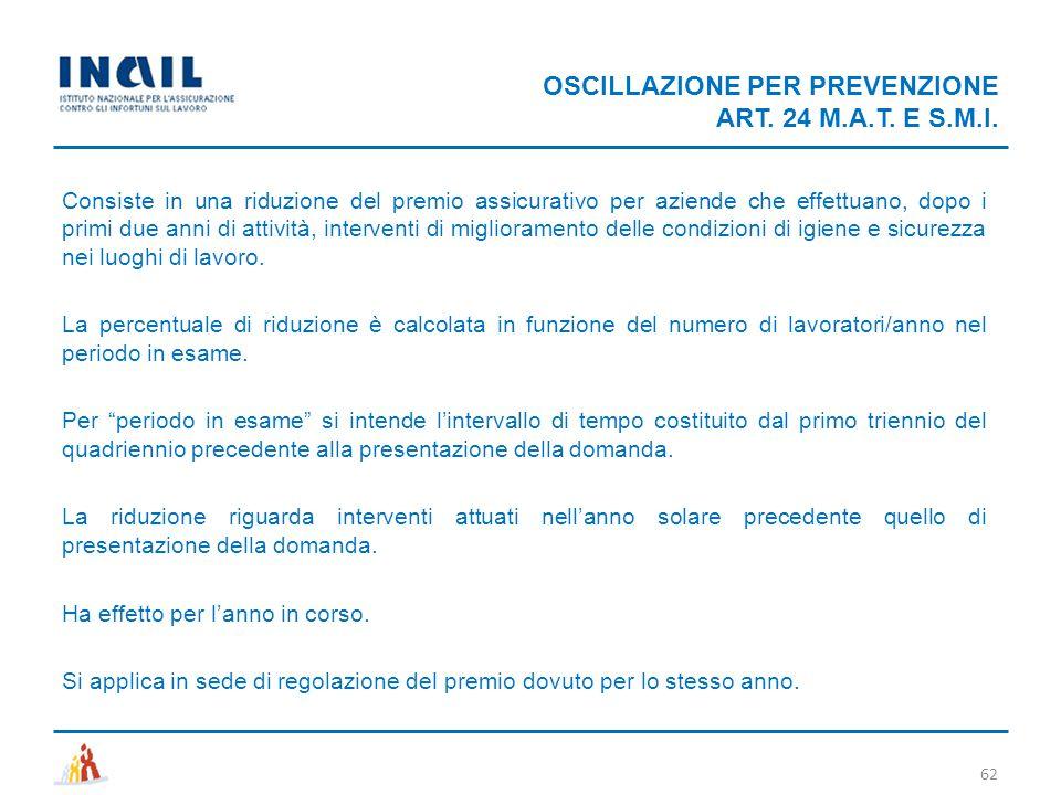 OSCILLAZIONE PER PREVENZIONE ART. 24 M.A.T. E S.M.I.