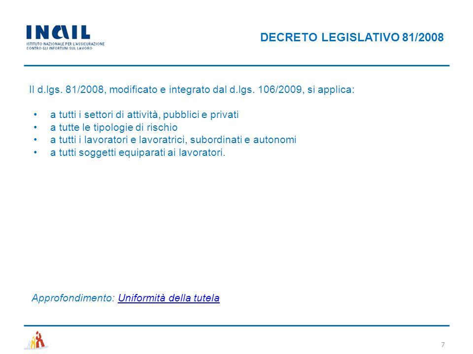 DECRETO LEGISLATIVO 81/2008 Il d.lgs. 81/2008, modificato e integrato dal d.lgs. 106/2009, si applica: