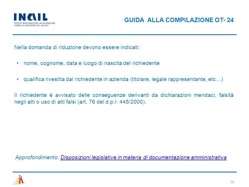 GUIDA ALLA COMPILAZIONE OT- 24