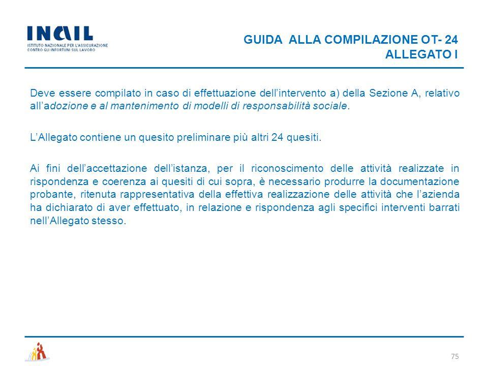 GUIDA ALLA COMPILAZIONE OT- 24 ALLEGATO I
