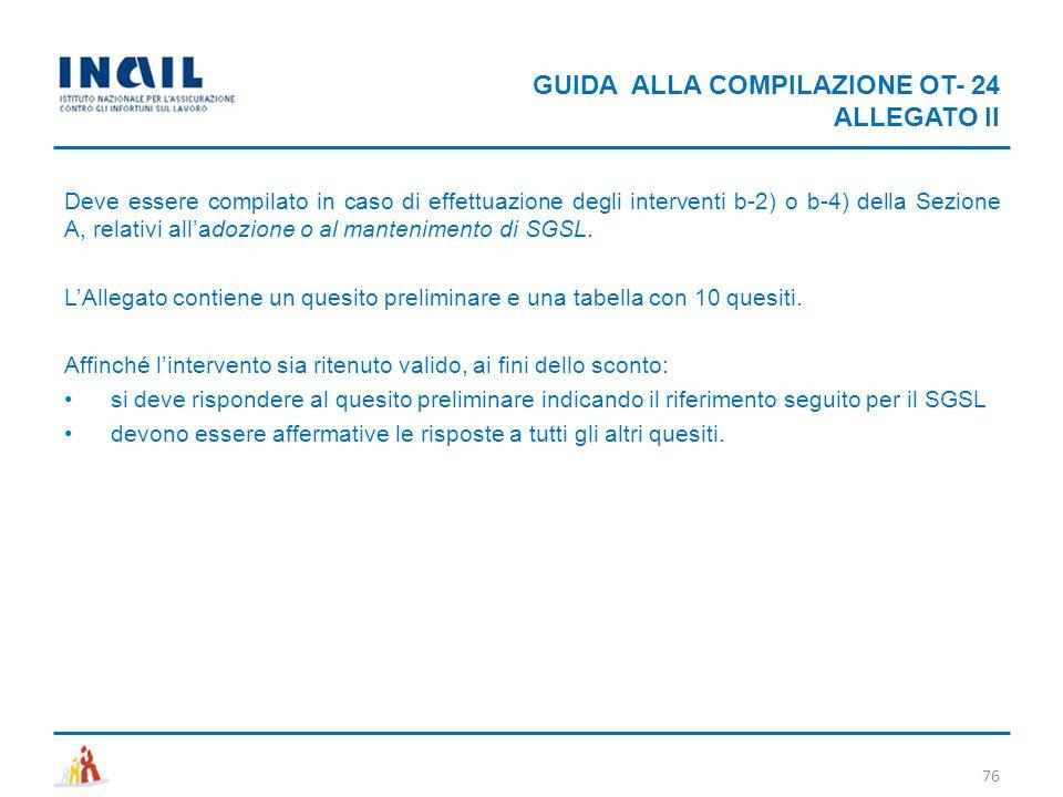 GUIDA ALLA COMPILAZIONE OT- 24 ALLEGATO II
