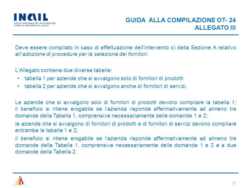 GUIDA ALLA COMPILAZIONE OT- 24 ALLEGATO III