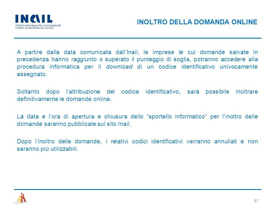 INOLTRO DELLA DOMANDA ONLINE