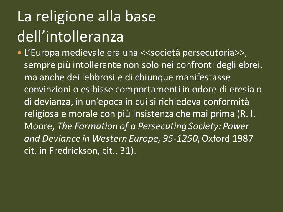 La religione alla base dell'intolleranza