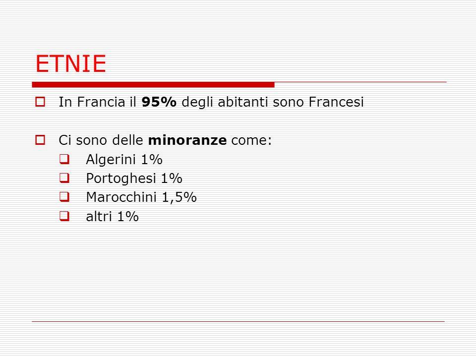 ETNIE In Francia il 95% degli abitanti sono Francesi