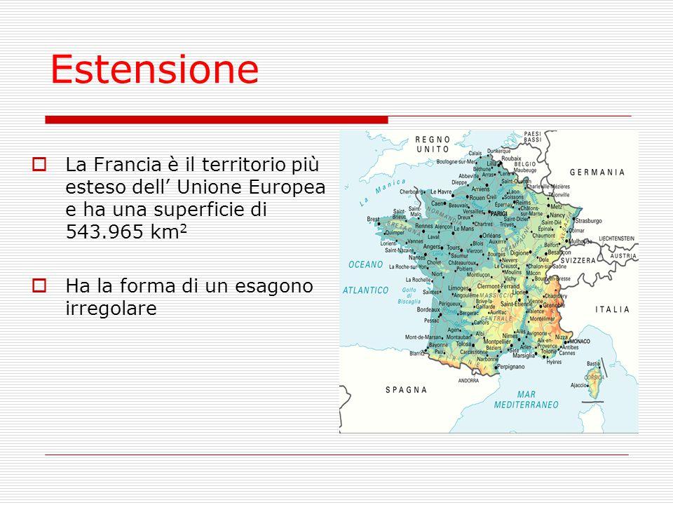 Estensione La Francia è il territorio più esteso dell' Unione Europea e ha una superficie di 543.965 km2.