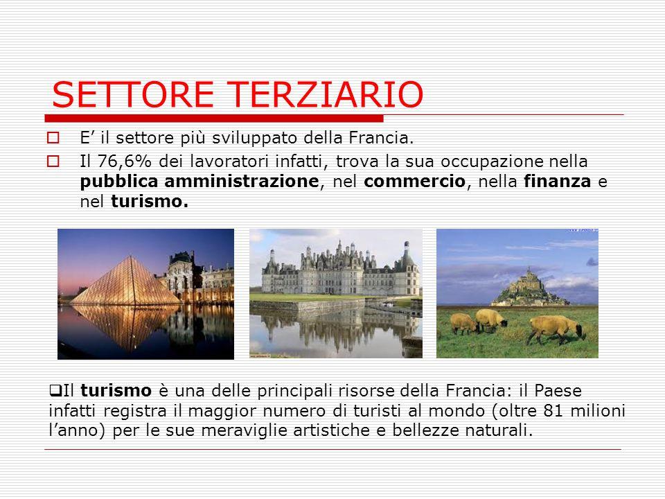 SETTORE TERZIARIO E' il settore più sviluppato della Francia.