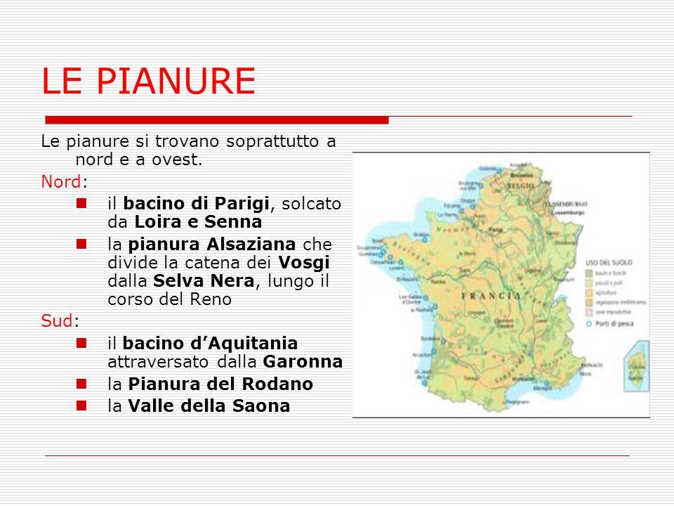 LE PIANURE Le pianure si trovano soprattutto a nord e a ovest. Nord: