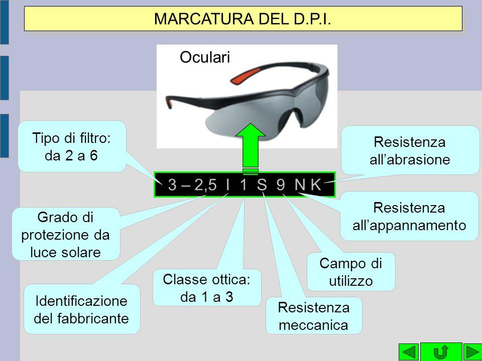 MARCATURA DEL D.P.I. Oculari 3 – 2,5 I 1 S 9 N K Tipo di filtro: