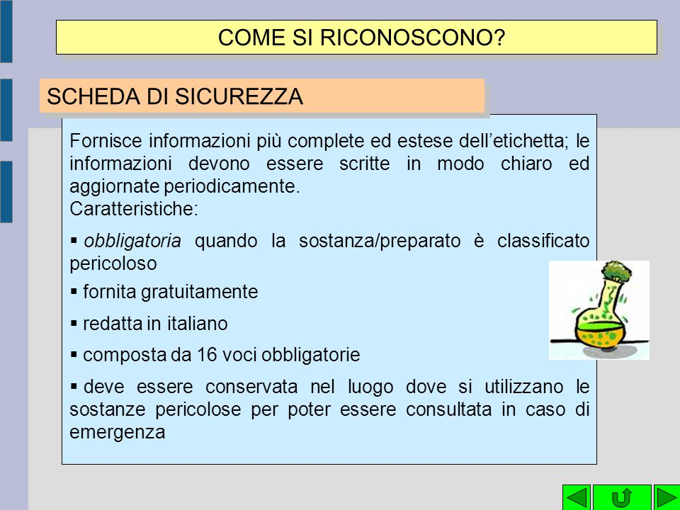 COME SI RICONOSCONO SCHEDA DI SICUREZZA
