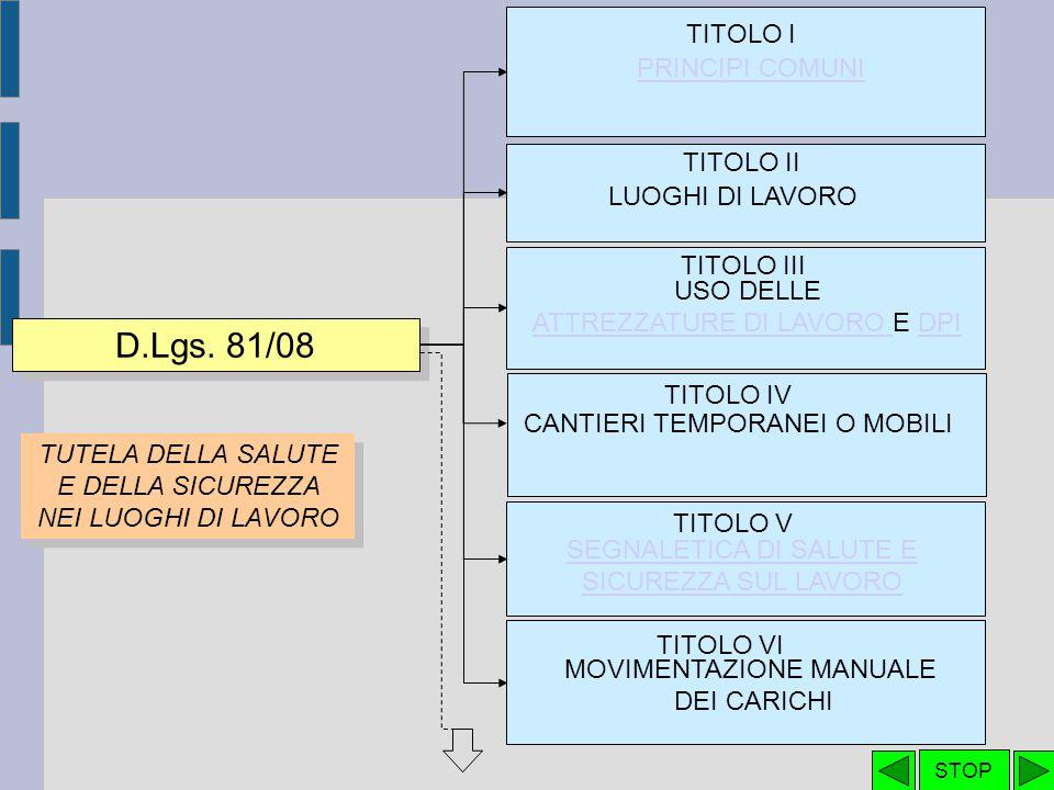 D.Lgs. 81/08 TITOLO I PRINCIPI COMUNI TITOLO II LUOGHI DI LAVORO