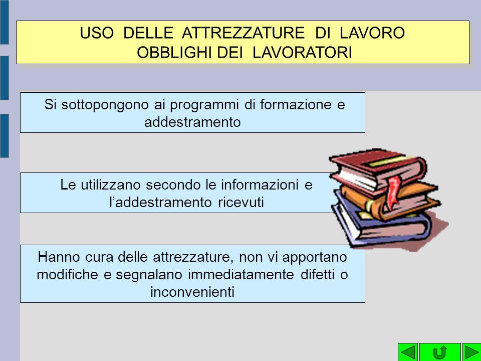 USO DELLE ATTREZZATURE DI LAVORO OBBLIGHI DEI LAVORATORI