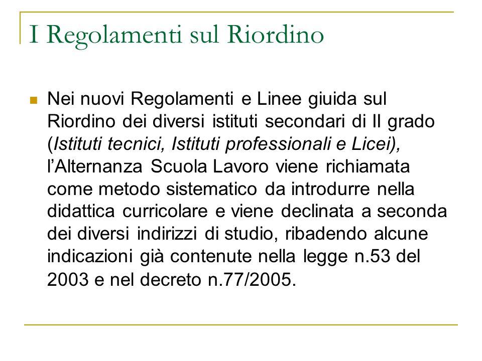 I Regolamenti sul Riordino