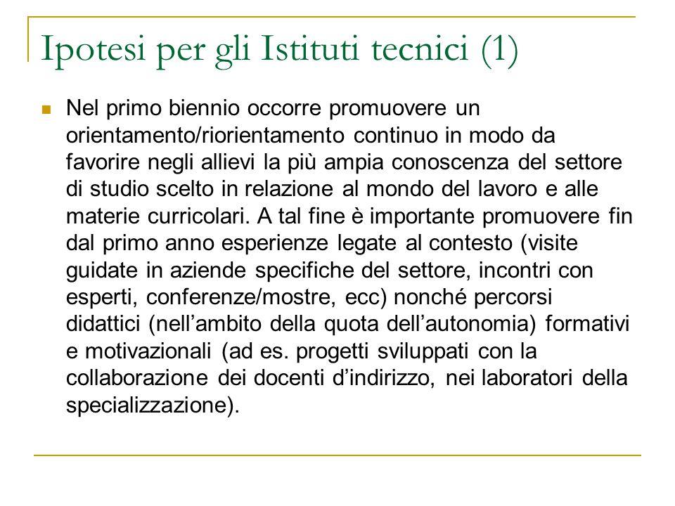 Ipotesi per gli Istituti tecnici (1)