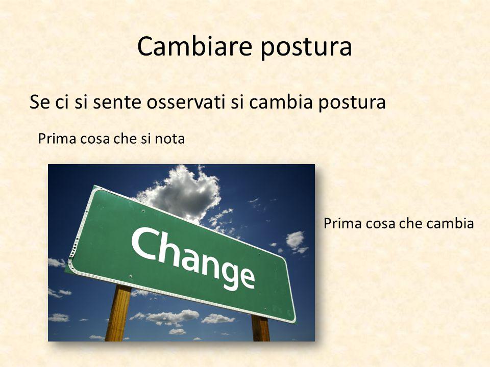 Cambiare postura Se ci si sente osservati si cambia postura