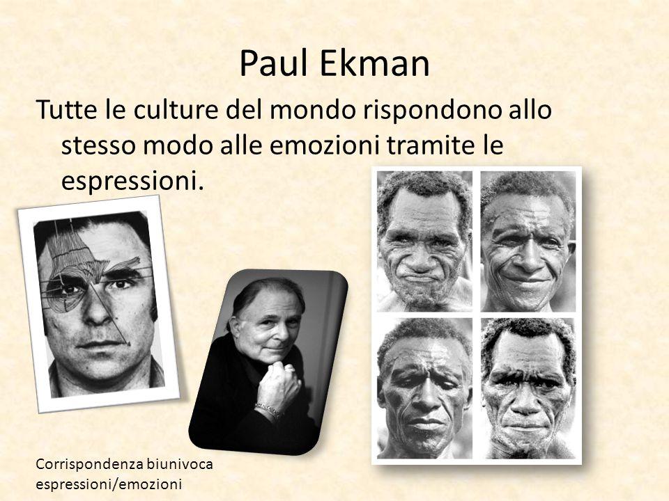 Paul Ekman Tutte le culture del mondo rispondono allo stesso modo alle emozioni tramite le espressioni.