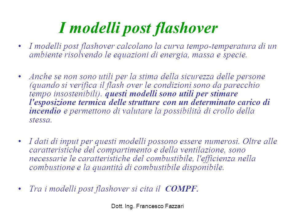 I modelli post flashover