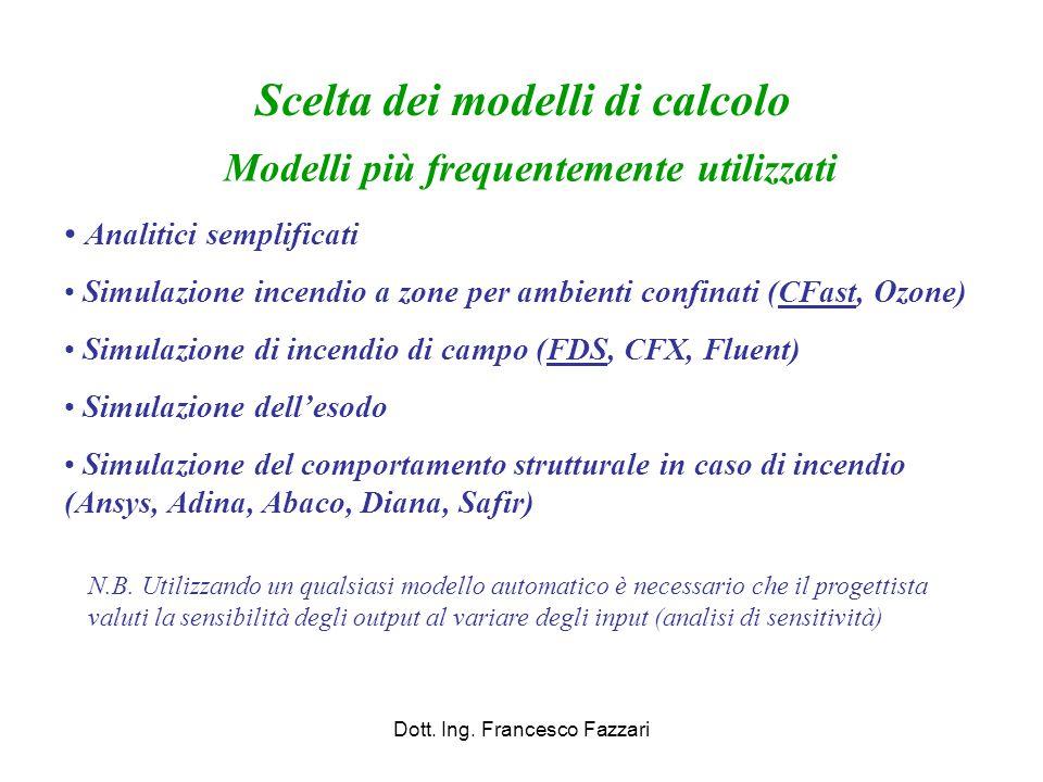 Scelta dei modelli di calcolo Modelli più frequentemente utilizzati