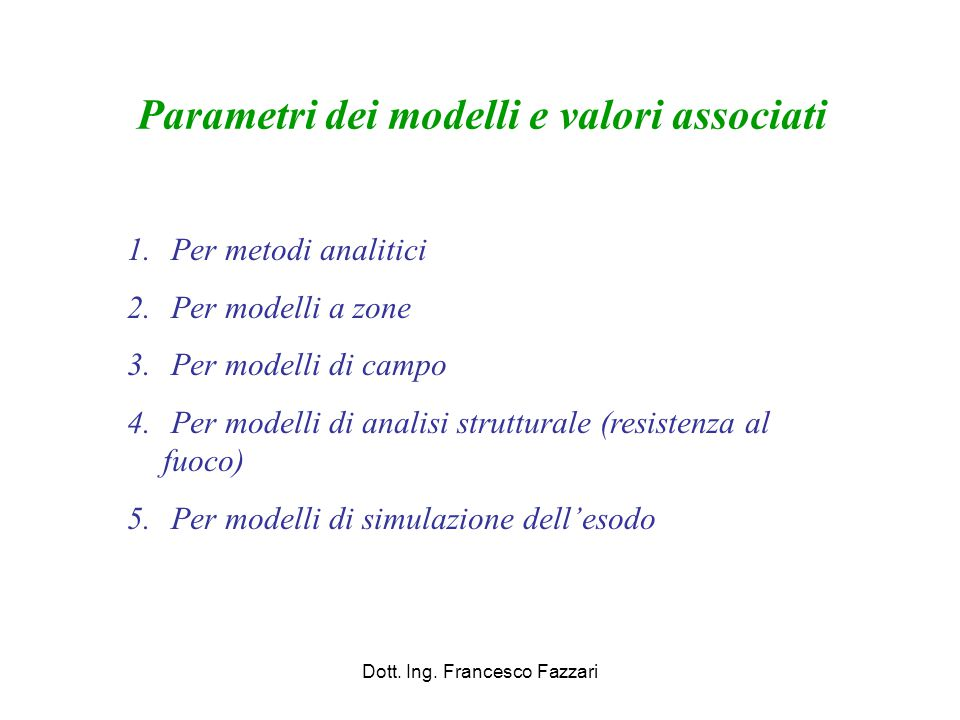 Parametri dei modelli e valori associati
