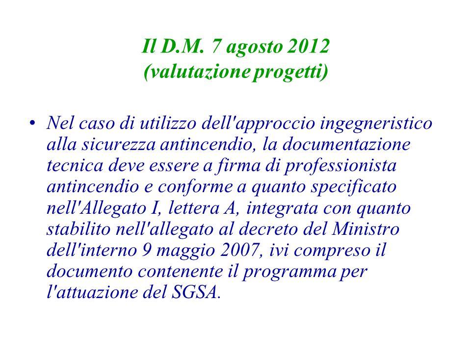 Il D.M. 7 agosto 2012 (valutazione progetti)