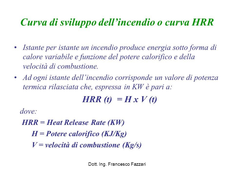 Curva di sviluppo dell'incendio o curva HRR