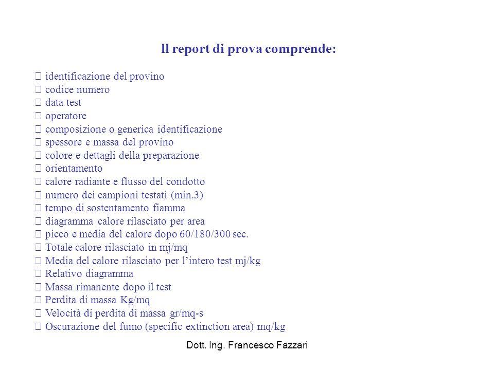 ll report di prova comprende: