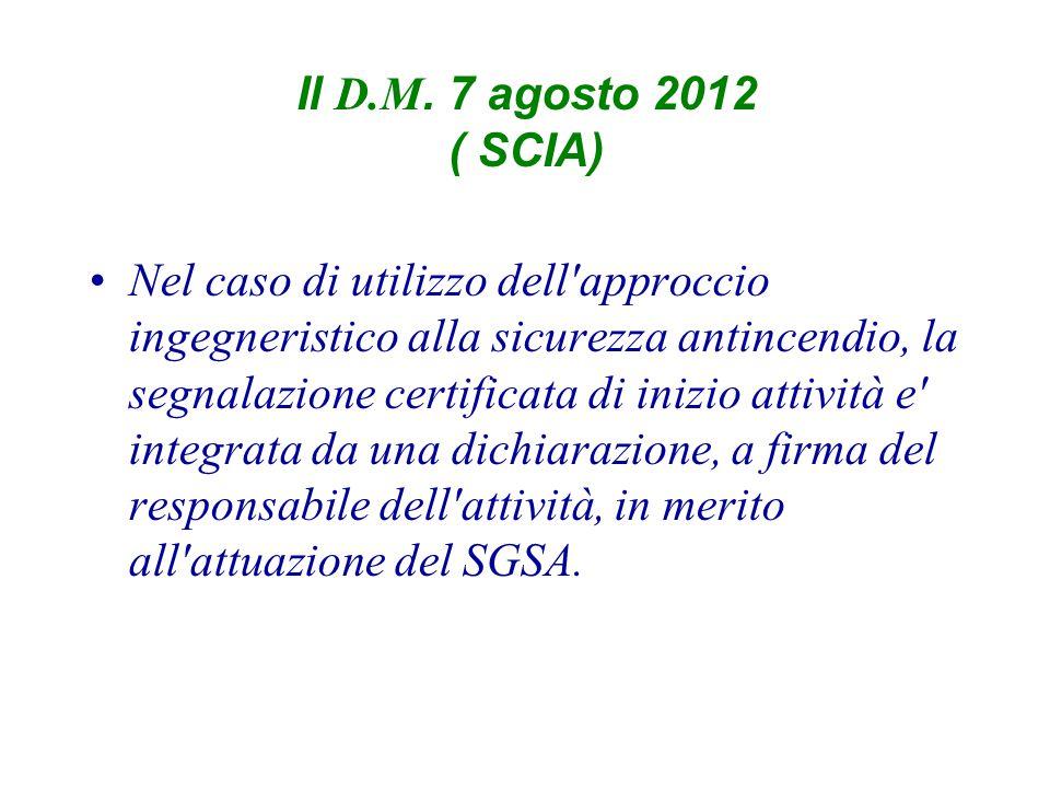 Il D.M. 7 agosto 2012 ( SCIA)