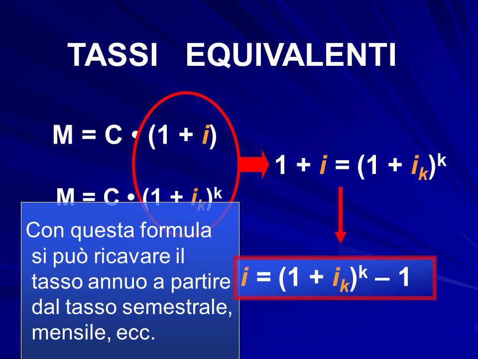 TASSI EQUIVALENTI M = C • (1 + i) 1 + i = (1 + ik)k i = (1 + ik)k – 1