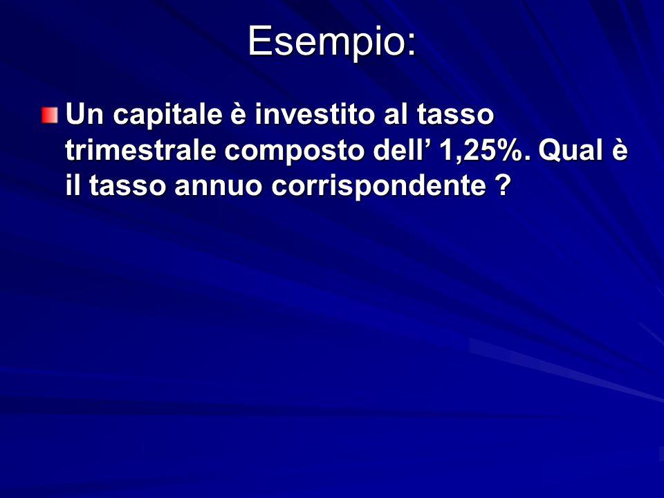 Esempio: Un capitale è investito al tasso trimestrale composto dell' 1,25%.