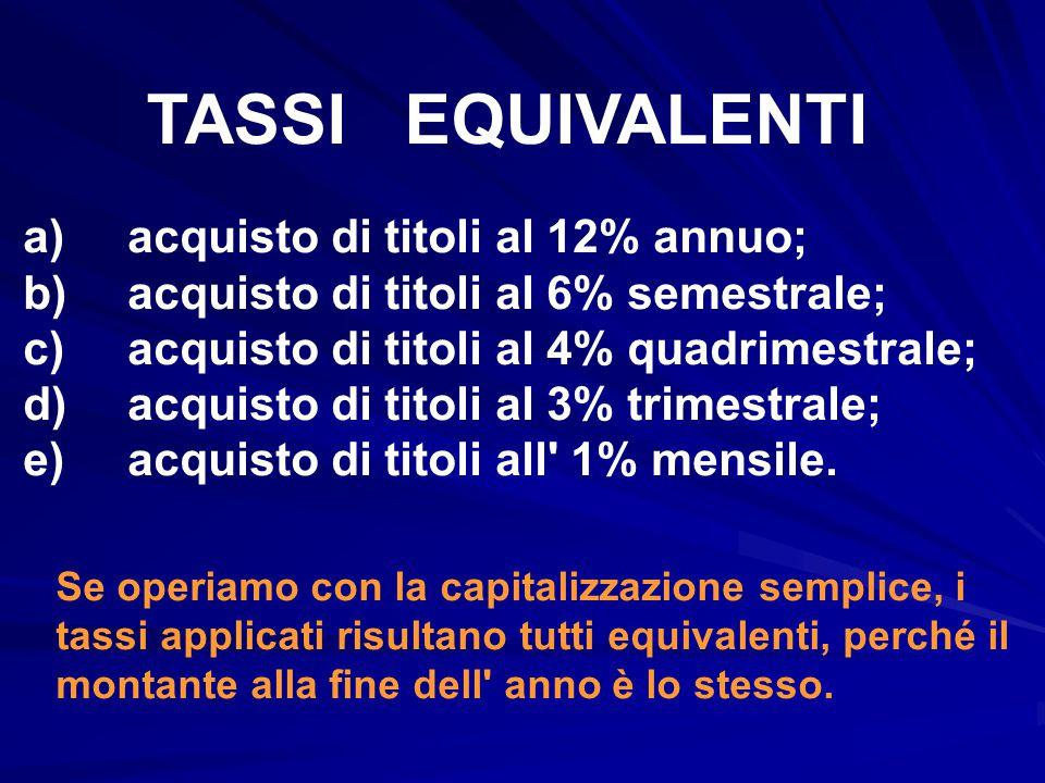 TASSI EQUIVALENTI a) acquisto di titoli al 12% annuo;