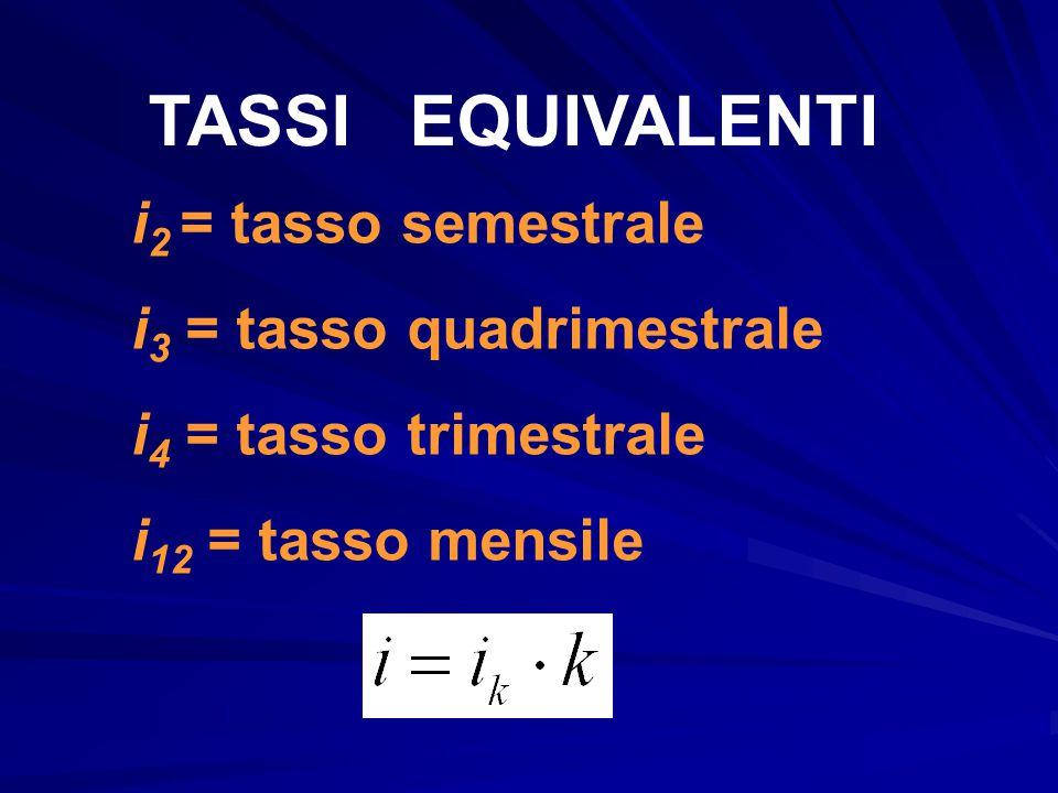 TASSI EQUIVALENTI i2 = tasso semestrale i3 = tasso quadrimestrale