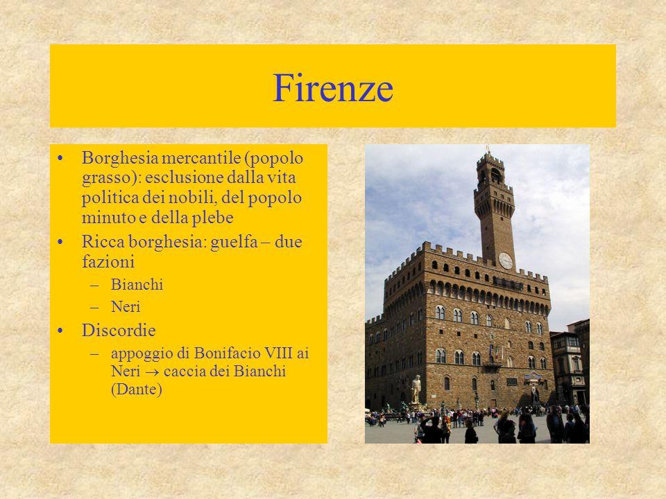 Firenze Borghesia mercantile (popolo grasso): esclusione dalla vita politica dei nobili, del popolo minuto e della plebe.