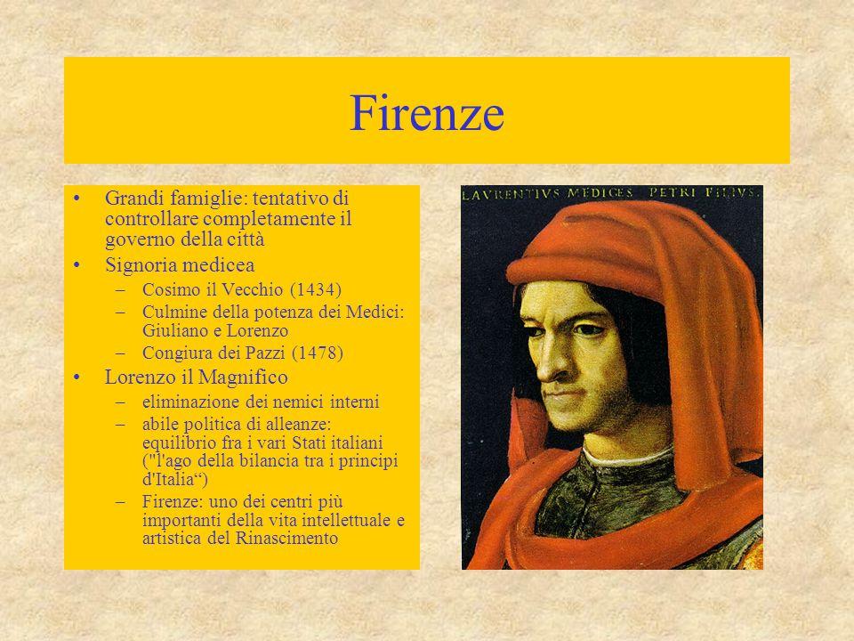 Firenze Grandi famiglie: tentativo di controllare completamente il governo della città. Signoria medicea.