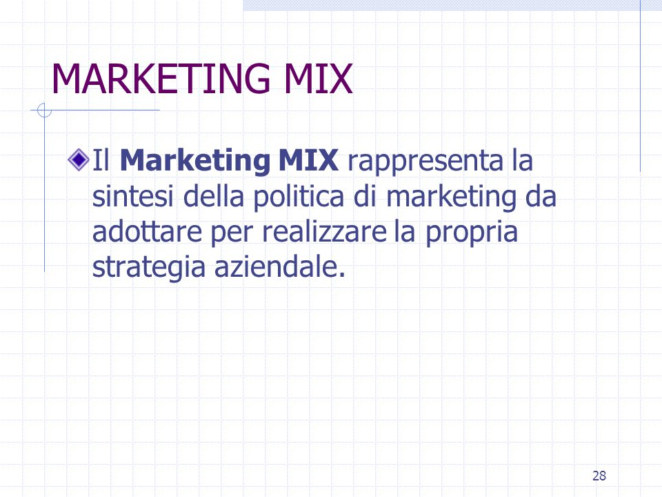 MARKETING MIX Il Marketing MIX rappresenta la sintesi della politica di marketing da adottare per realizzare la propria strategia aziendale.