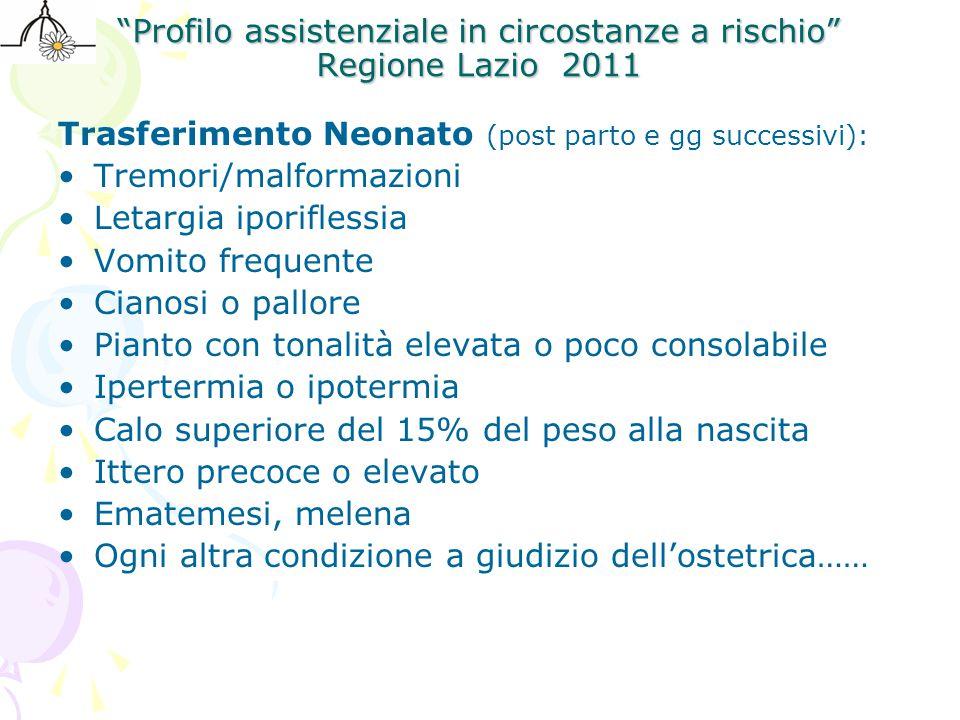 Profilo assistenziale in circostanze a rischio Regione Lazio 2011