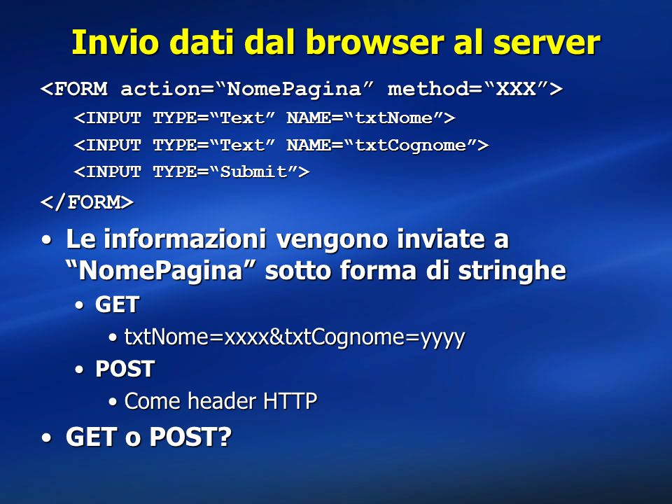 Invio dati dal browser al server