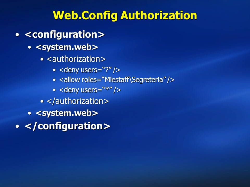 Web.Config Authorization