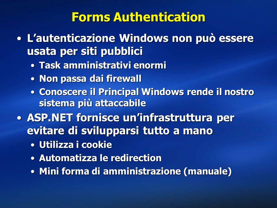 Forms Authentication L'autenticazione Windows non può essere usata per siti pubblici. Task amministrativi enormi.