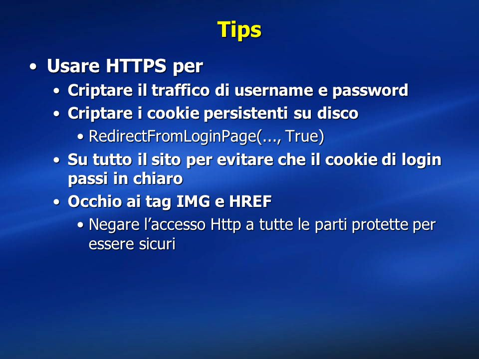 Tips Usare HTTPS per Criptare il traffico di username e password