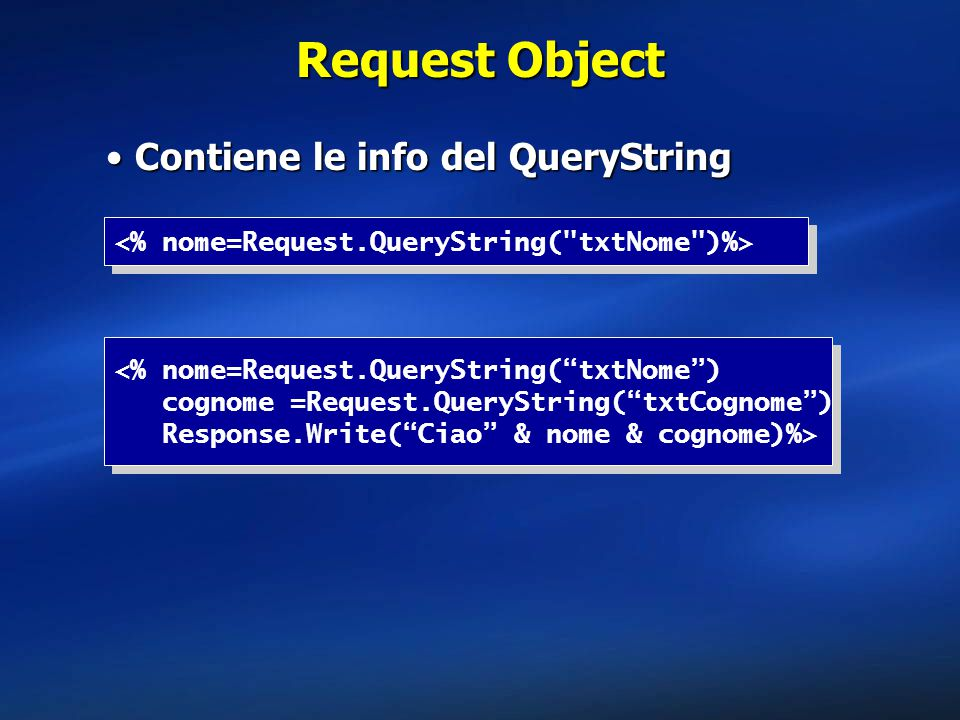 Request Object Contiene le info del QueryString
