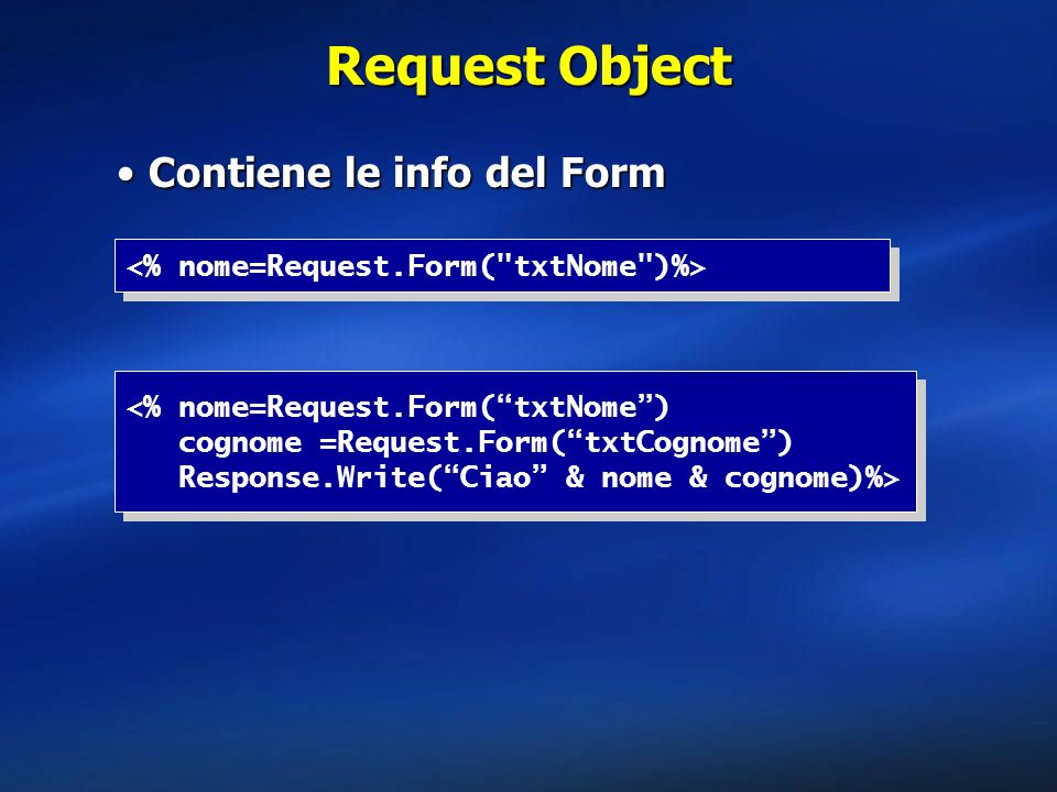 Request Object Contiene le info del Form