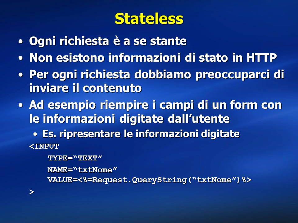 Stateless Ogni richiesta è a se stante