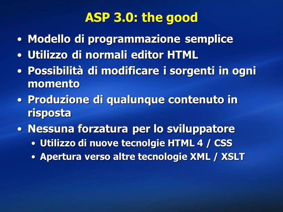 ASP 3.0: the good Modello di programmazione semplice