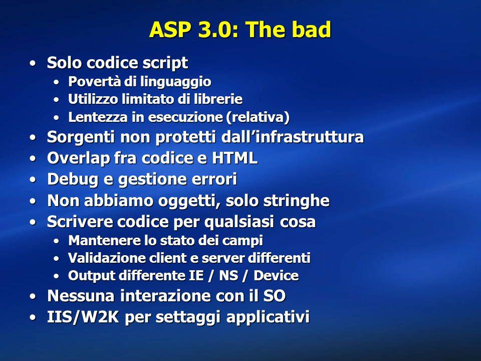 ASP 3.0: The bad Solo codice script